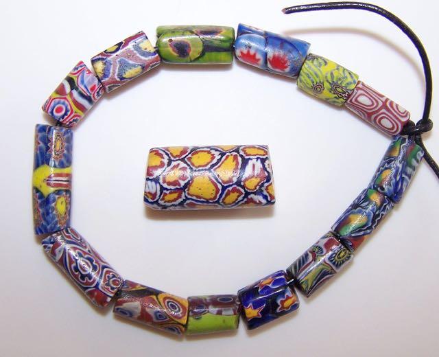 Matched Trade Beads Metallic Raised Glass Fancy Pattern Beads Wedding Cake Venetian Trade Beads x 25 Yellow African Trade Beads
