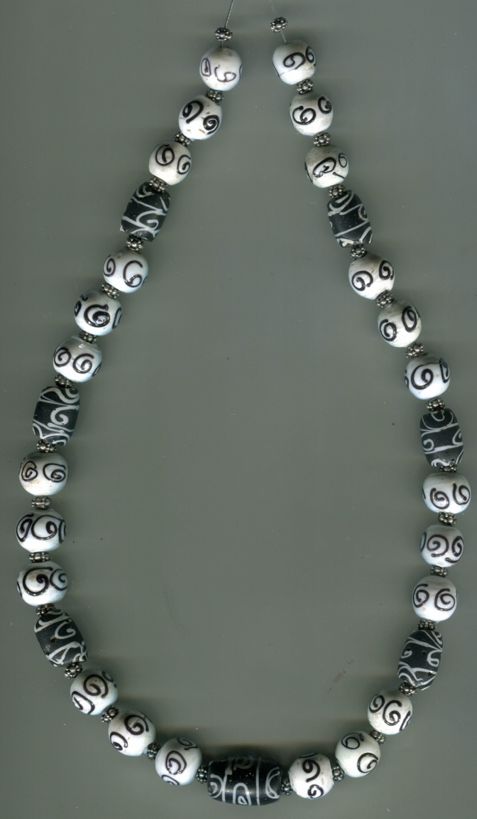 """1 Each Individual Large 15 mm Blue w//White Opaque Glass /""""Skunk/"""" Trade Bead One"""